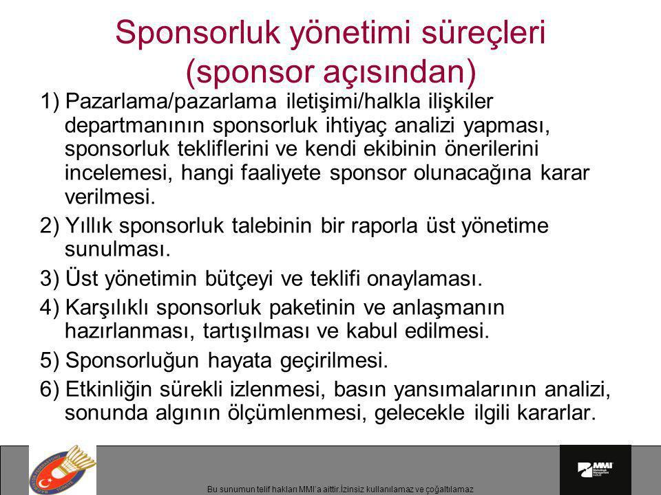 Sponsorluk yönetimi süreçleri (sponsor açısından)