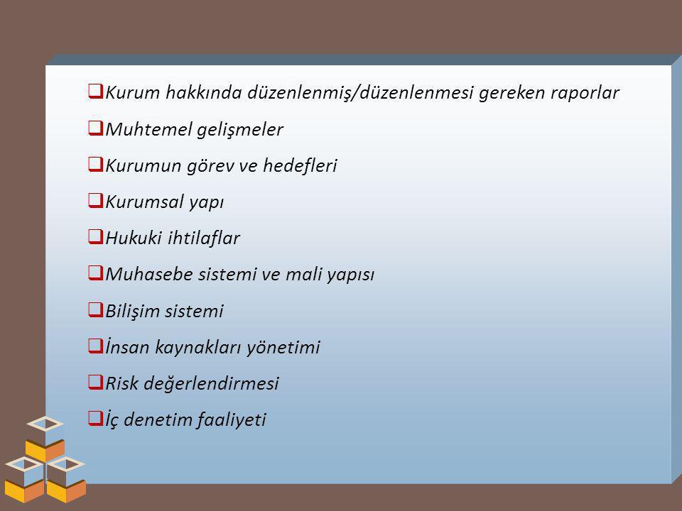 Kurum hakkında düzenlenmiş/düzenlenmesi gereken raporlar