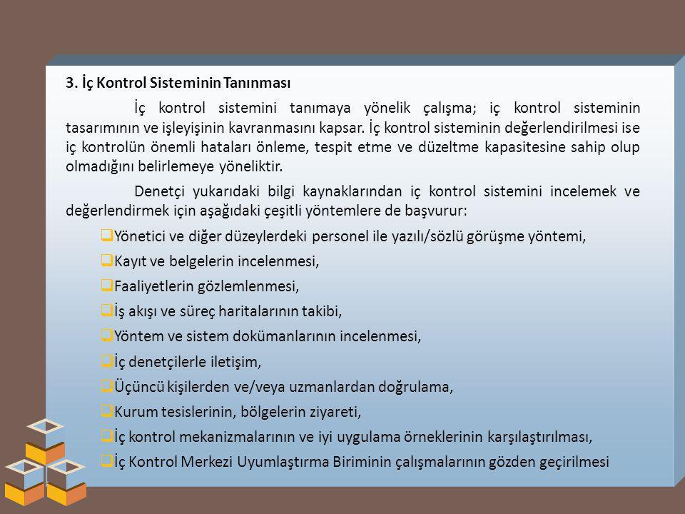 3. İç Kontrol Sisteminin Tanınması