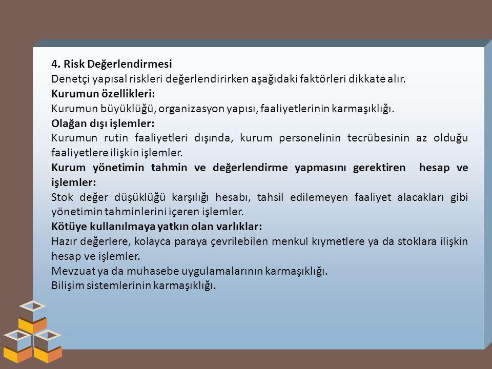 4. Risk Değerlendirmesi Denetçi yapısal riskleri değerlendirirken aşağıdaki faktörleri dikkate alır.