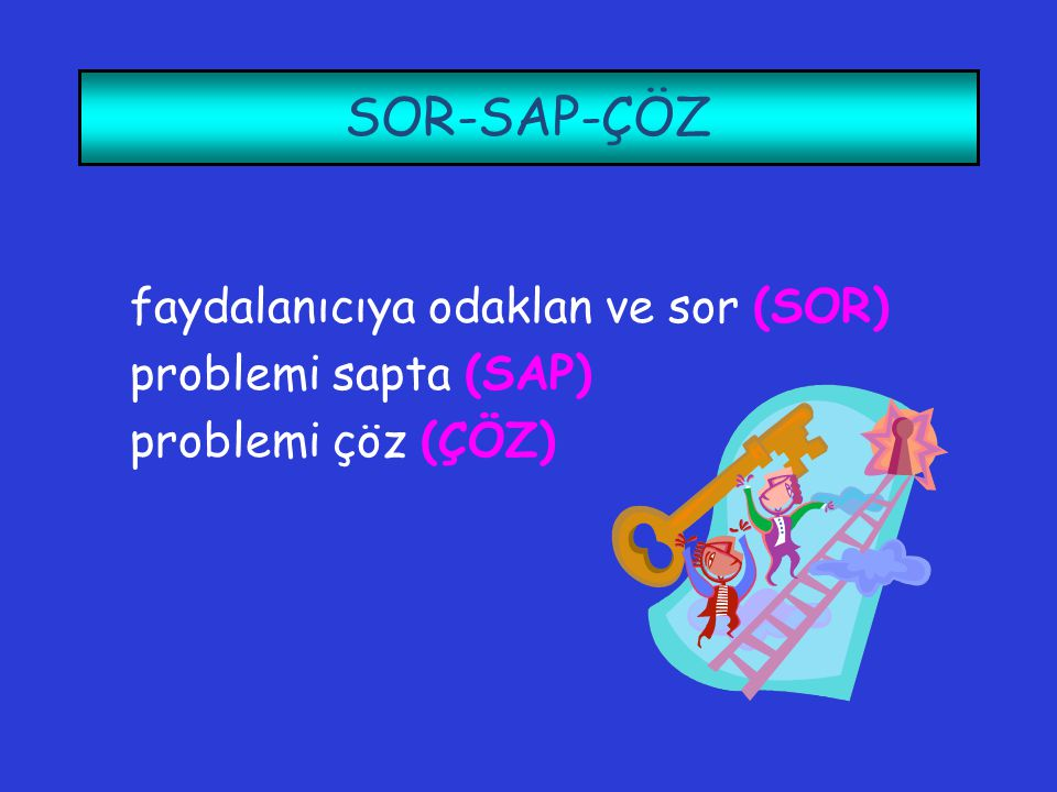 SOR-SAP-ÇÖZ faydalanıcıya odaklan ve sor (SOR) problemi sapta (SAP)