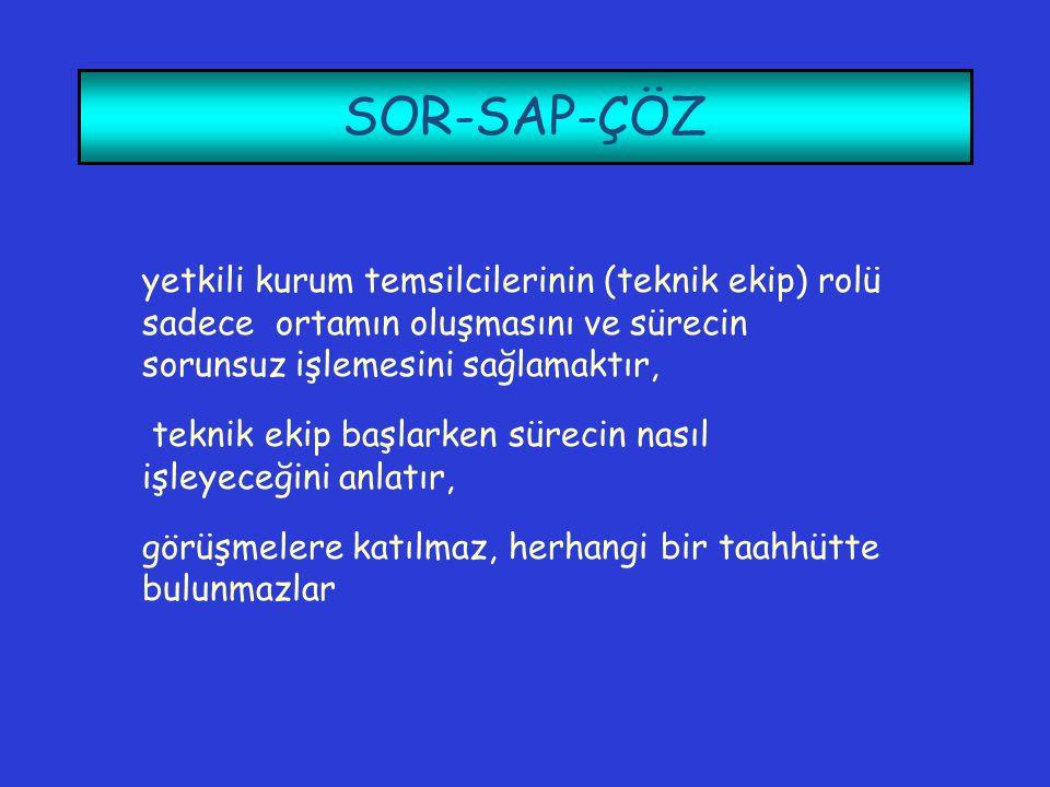 SOR-SAP-ÇÖZ yetkili kurum temsilcilerinin (teknik ekip) rolü sadece ortamın oluşmasını ve sürecin sorunsuz işlemesini sağlamaktır,