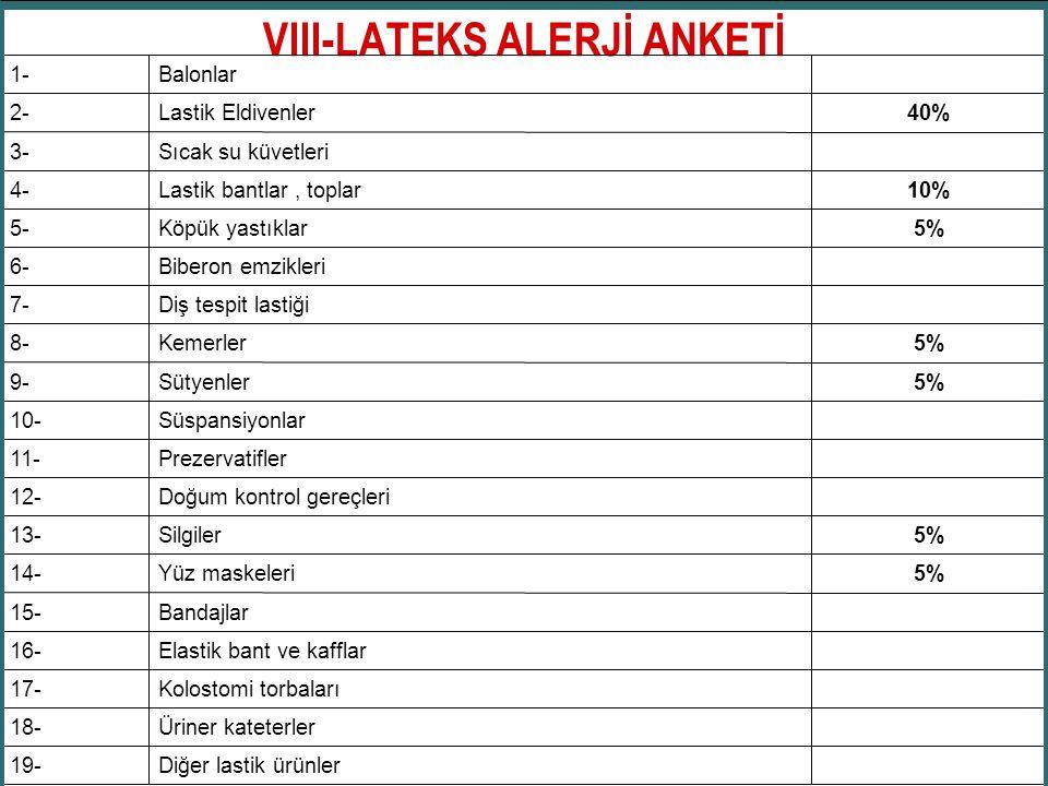 VIII-LATEKS ALERJİ ANKETİ