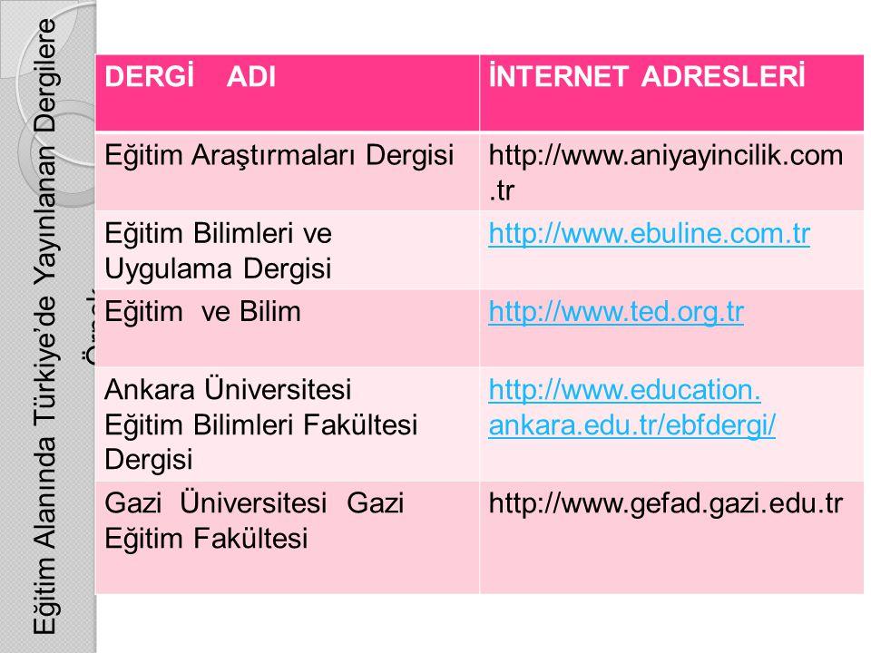 Eğitim Alanında Türkiye'de Yayınlanan Dergilere Örnek