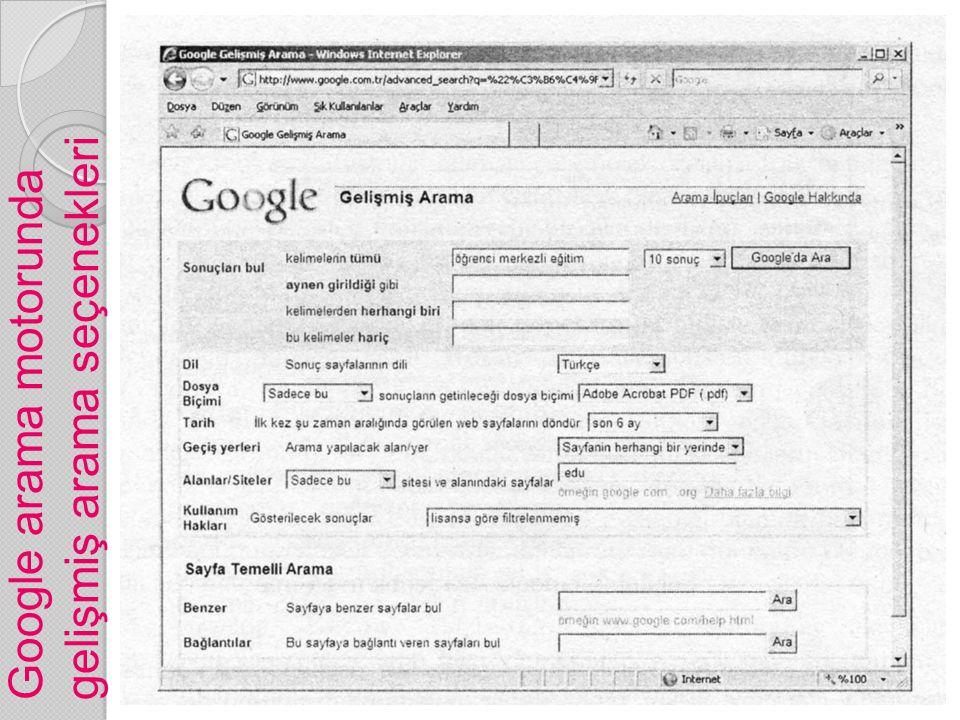Google arama motorunda gelişmiş arama seçenekleri