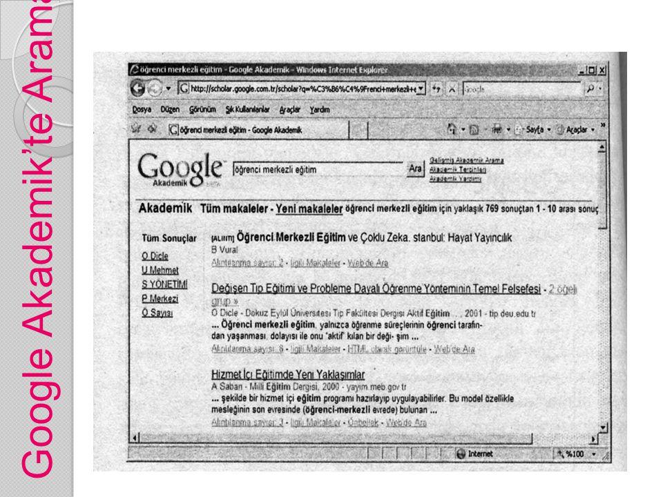 Google Akademik'te Arama