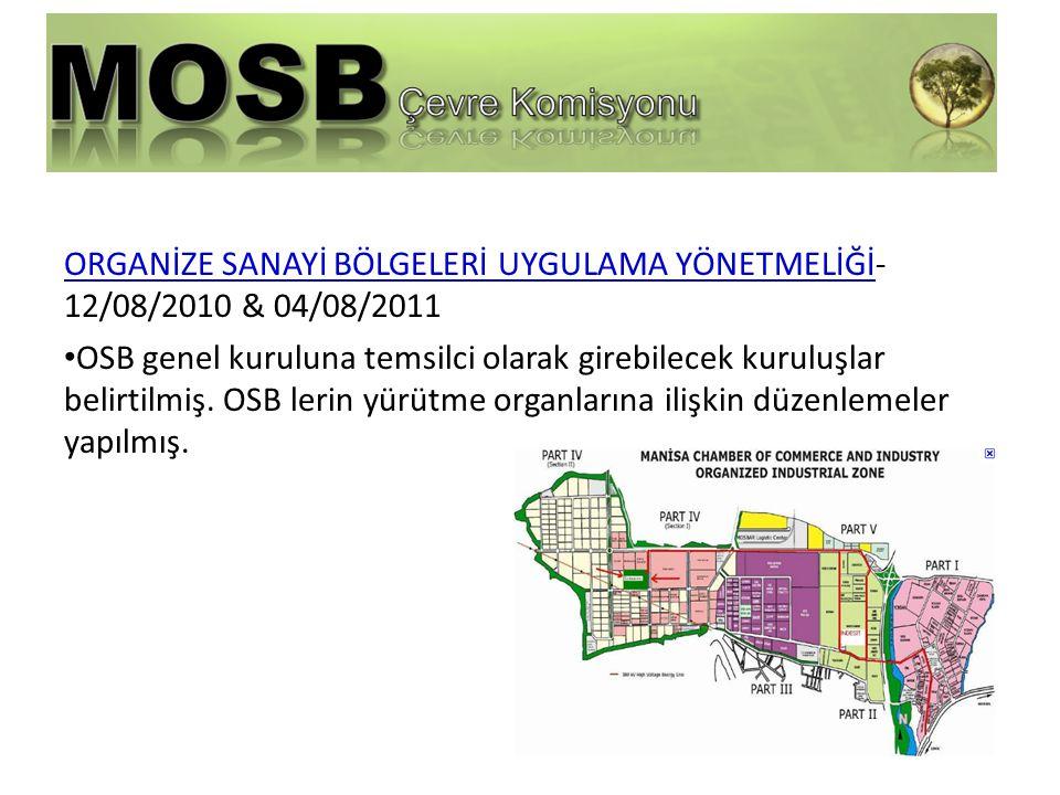 ORGANİZE SANAYİ BÖLGELERİ UYGULAMA YÖNETMELİĞİ- 12/08/2010 & 04/08/2011