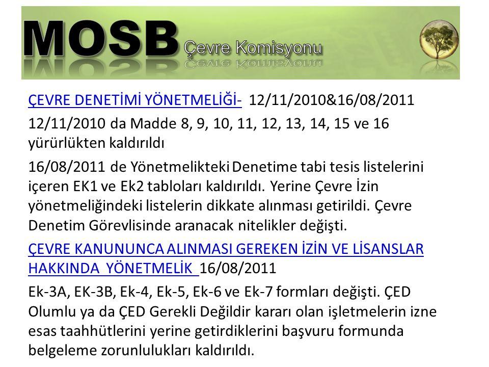 ÇEVRE DENETİMİ YÖNETMELİĞİ- 12/11/2010&16/08/2011 12/11/2010 da Madde 8, 9, 10, 11, 12, 13, 14, 15 ve 16 yürürlükten kaldırıldı 16/08/2011 de Yönetmelikteki Denetime tabi tesis listelerini içeren EK1 ve Ek2 tabloları kaldırıldı.