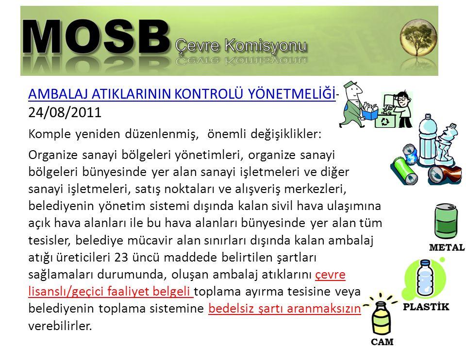 AMBALAJ ATIKLARININ KONTROLÜ YÖNETMELİĞİ-24/08/2011