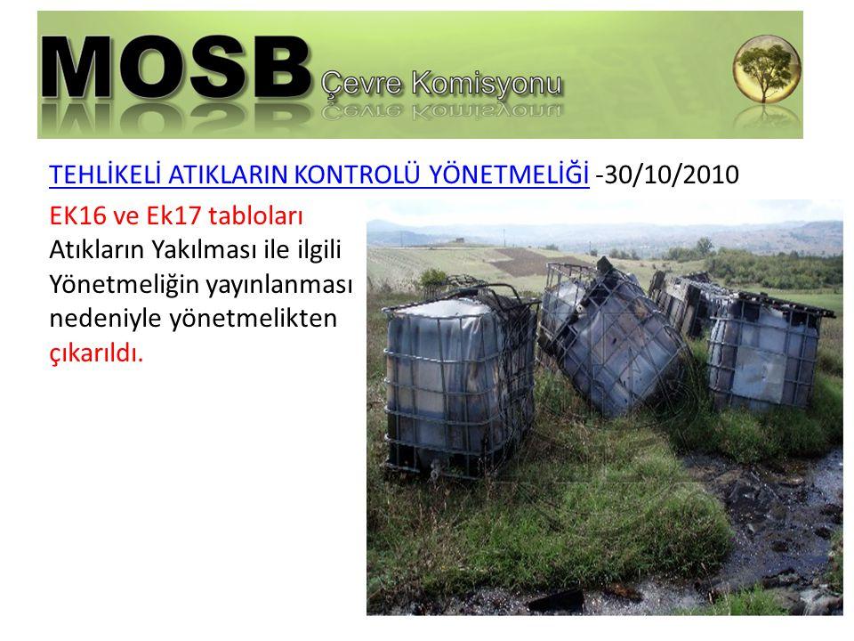 TEHLİKELİ ATIKLARIN KONTROLÜ YÖNETMELİĞİ -30/10/2010 EK16 ve Ek17 tabloları Atıkların Yakılması ile ilgili Yönetmeliğin yayınlanması nedeniyle yönetmelikten çıkarıldı.
