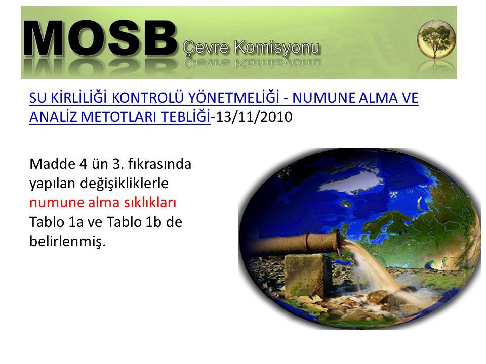 SU KİRLİLİĞİ KONTROLÜ YÖNETMELİĞİ - NUMUNE ALMA VE ANALİZ METOTLARI TEBLİĞİ-13/11/2010 Madde 4 ün 3.