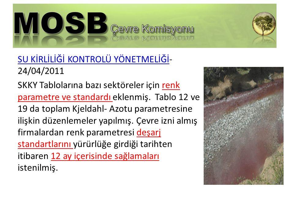 SU KİRLİLİĞİ KONTROLÜ YÖNETMELİĞİ- 24/04/2011 SKKY Tablolarına bazı sektöreler için renk parametre ve standardı eklenmiş.