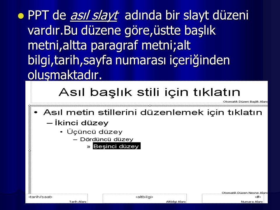 PPT de asıl slayt adında bir slayt düzeni vardır