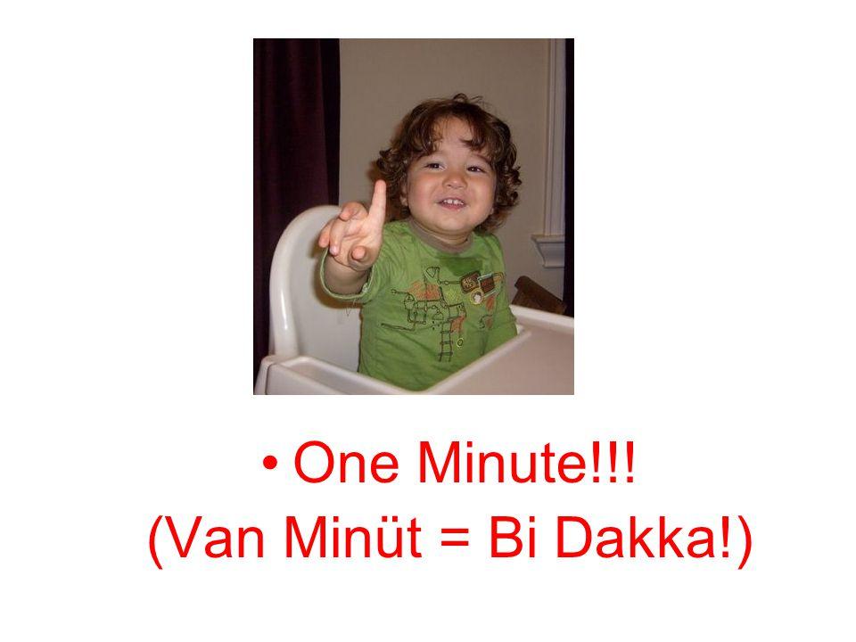 One Minute!!! (Van Minüt = Bi Dakka!)