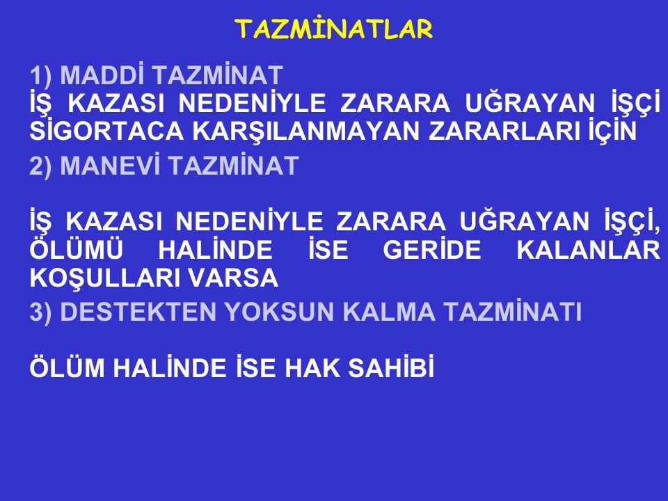 1) MADDİ TAZMİNAT. İŞ KAZASI NEDENİYLE ZARARA UĞRAYAN İŞÇİ SİGORTACA KARŞILANMAYAN ZARARLARI İÇİN.