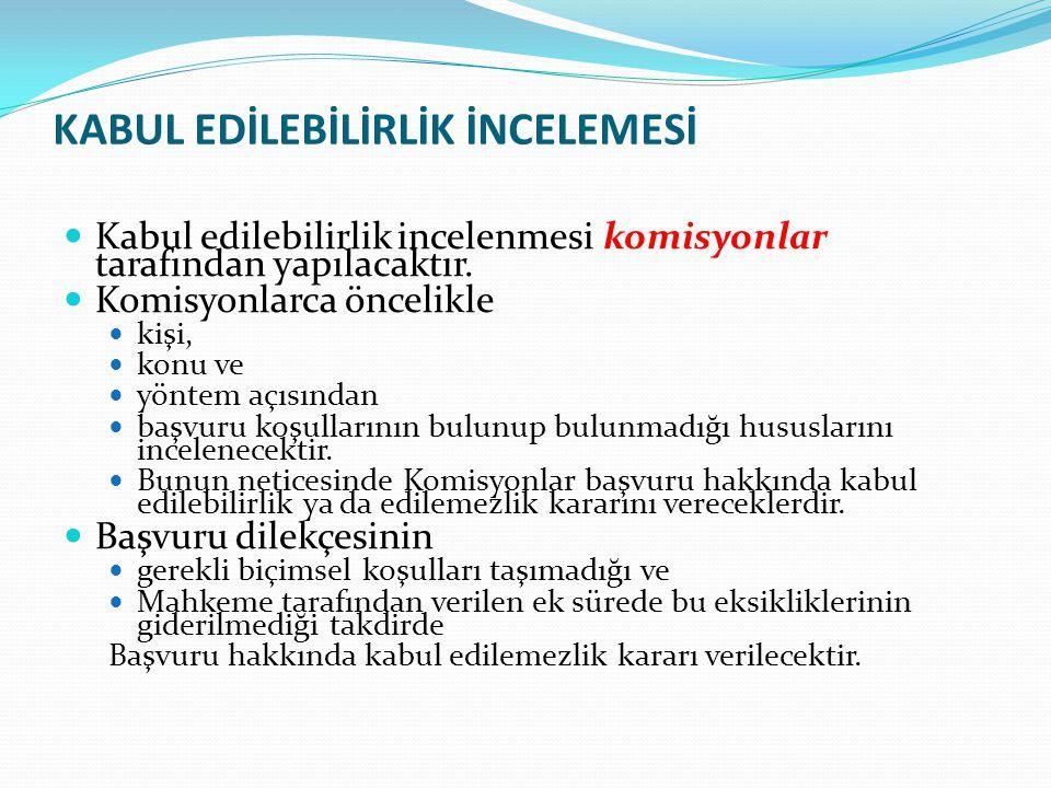 KABUL EDİLEBİLİRLİK İNCELEMESİ