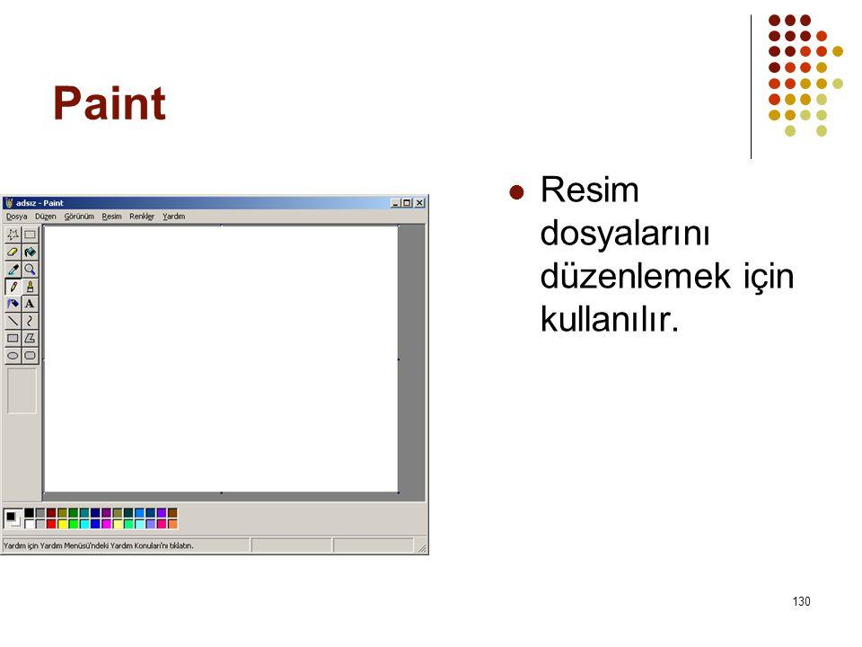 Paint Resim dosyalarını düzenlemek için kullanılır.