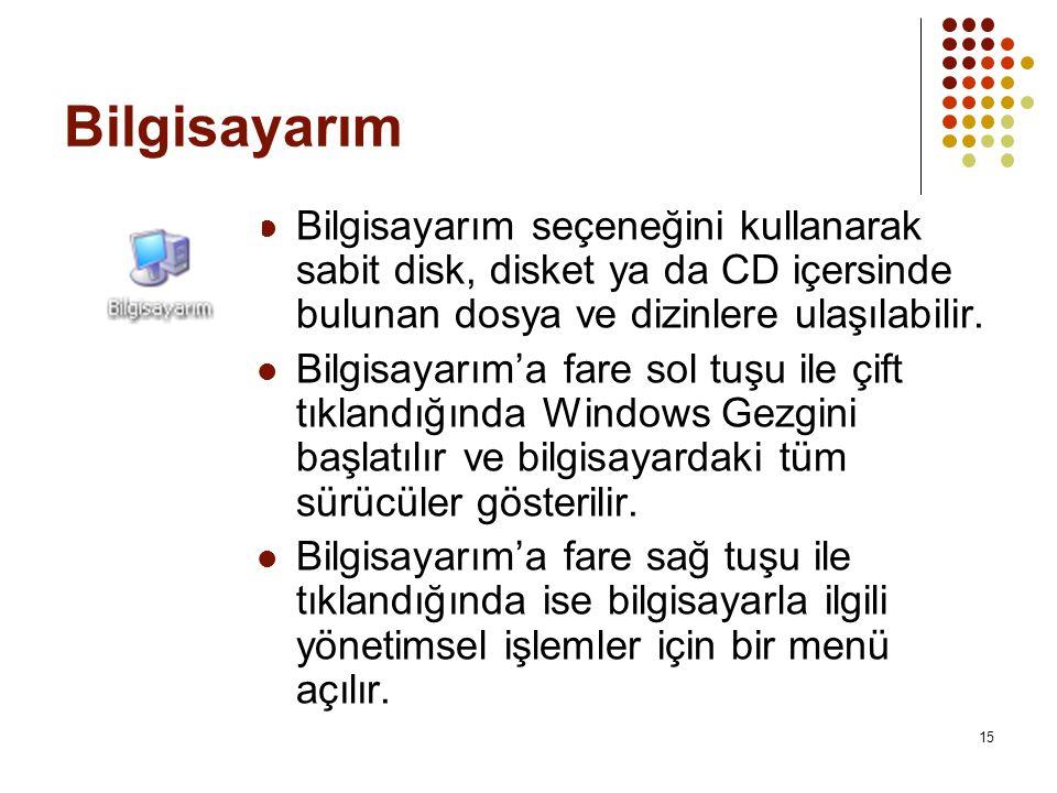 Bilgisayarım Bilgisayarım seçeneğini kullanarak sabit disk, disket ya da CD içersinde bulunan dosya ve dizinlere ulaşılabilir.
