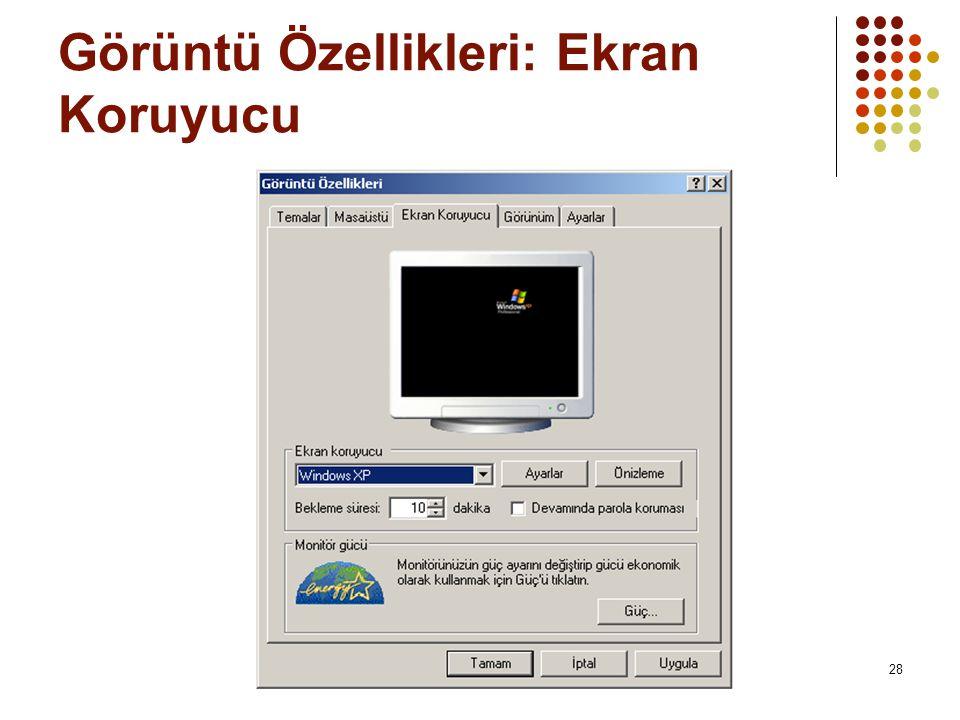 Görüntü Özellikleri: Ekran Koruyucu