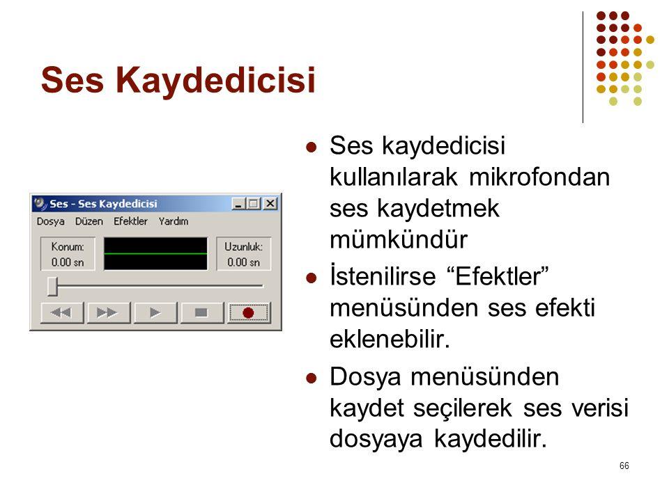 Ses Kaydedicisi Ses kaydedicisi kullanılarak mikrofondan ses kaydetmek mümkündür. İstenilirse Efektler menüsünden ses efekti eklenebilir.