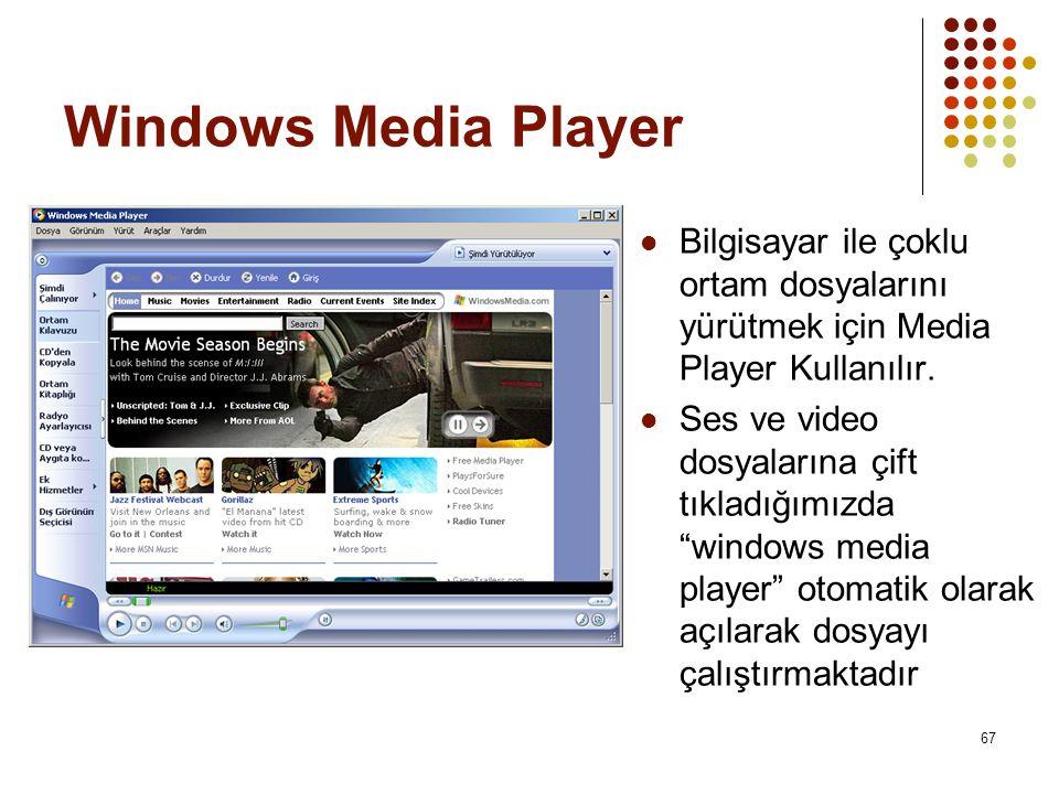 Windows Media Player Bilgisayar ile çoklu ortam dosyalarını yürütmek için Media Player Kullanılır.