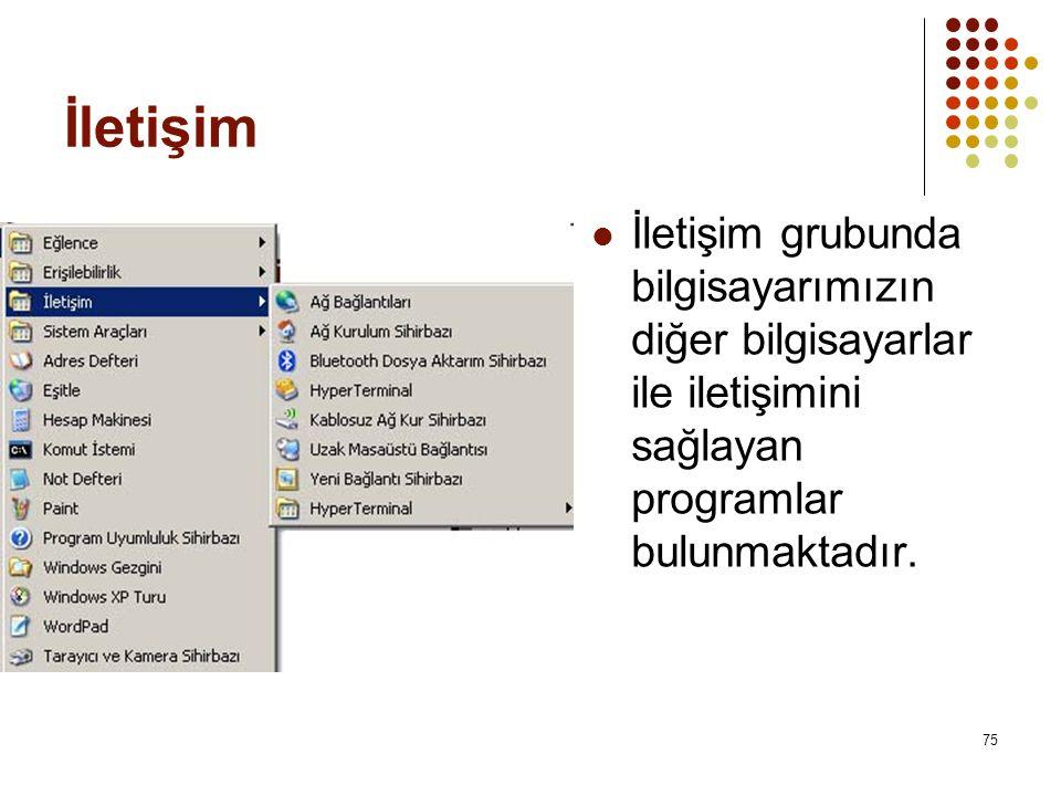 İletişim İletişim grubunda bilgisayarımızın diğer bilgisayarlar ile iletişimini sağlayan programlar bulunmaktadır.