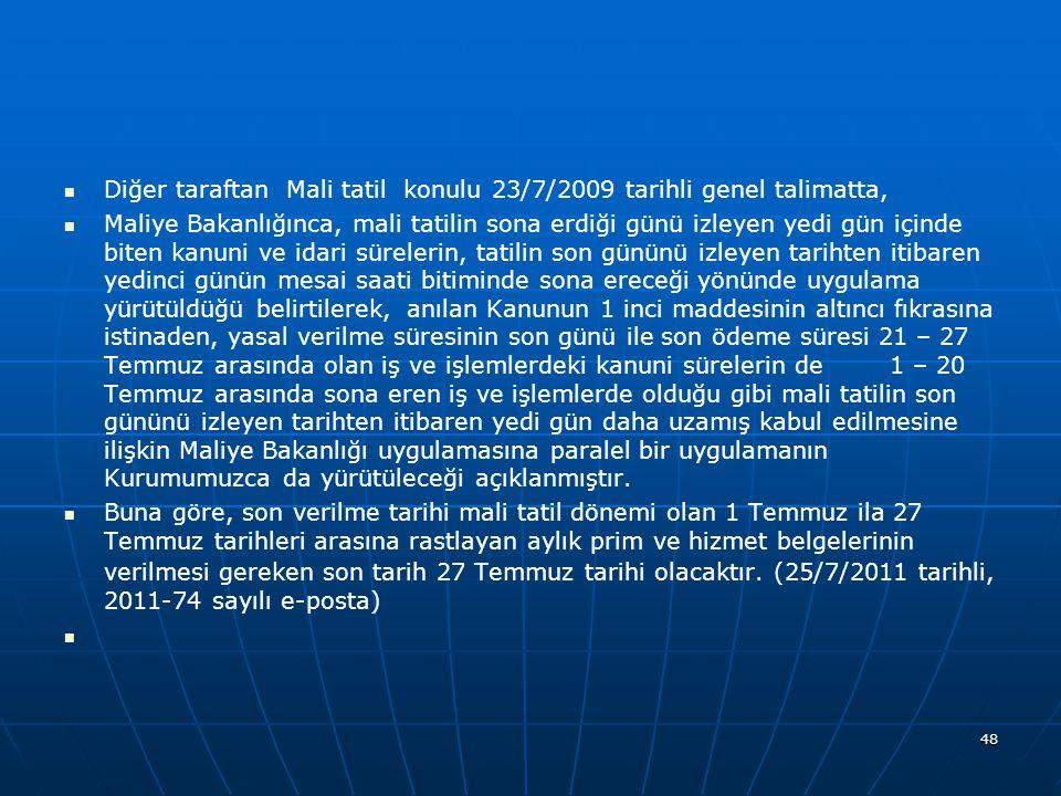 Diğer taraftan Mali tatil konulu 23/7/2009 tarihli genel talimatta,