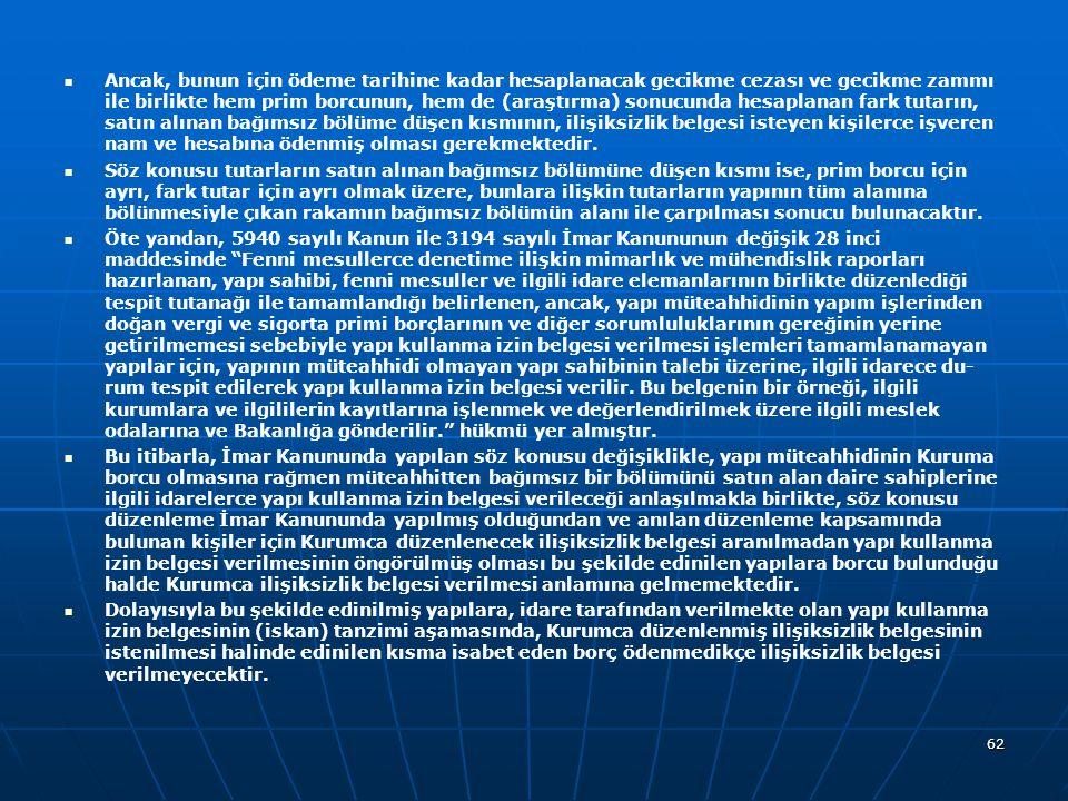 Ancak, bunun için ödeme tarihine kadar hesaplanacak gecikme cezası ve gecikme zammı ile birlikte hem prim borcunun, hem de (araştırma) sonucunda hesaplanan fark tutarın, satın alınan bağımsız bölüme düşen kısmının, ilişiksizlik belgesi isteyen kişilerce işveren nam ve hesabına ödenmiş olması gerekmektedir.