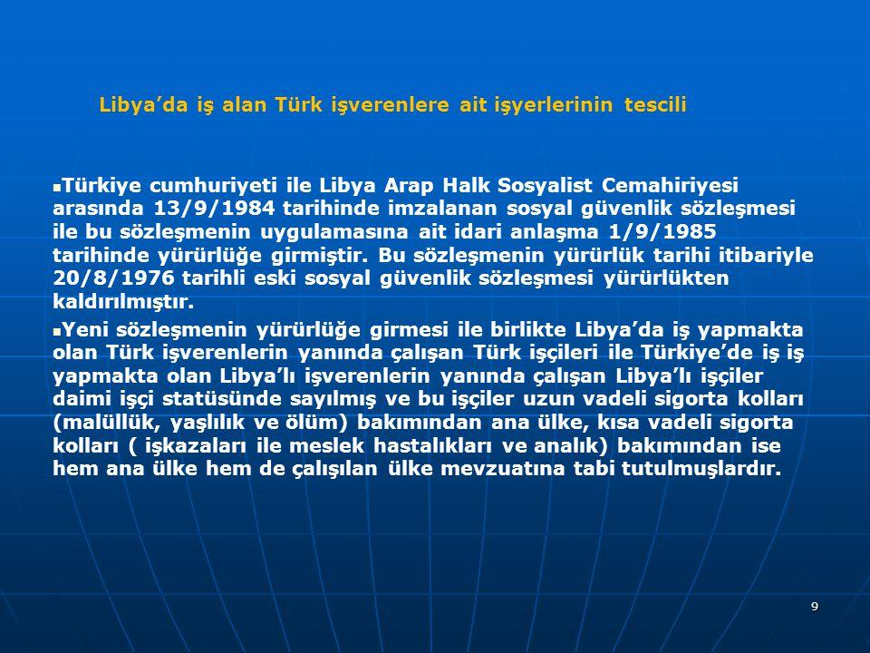 Libya'da iş alan Türk işverenlere ait işyerlerinin tescili