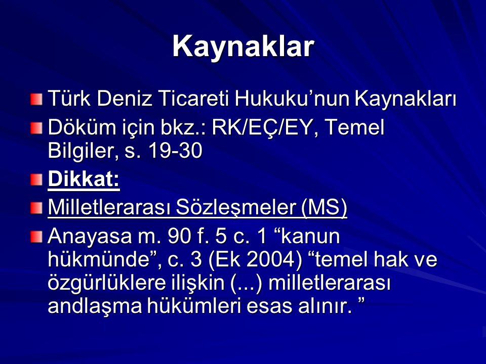 Kaynaklar Türk Deniz Ticareti Hukuku'nun Kaynakları