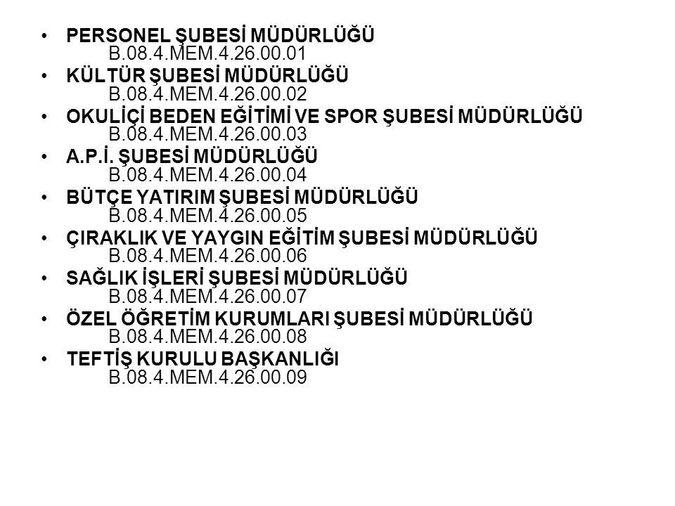 PERSONEL ŞUBESİ MÜDÜRLÜĞÜ B.08.4.MEM.4.26.00.01