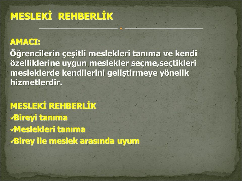 MESLEKİ REHBERLİK AMACI:
