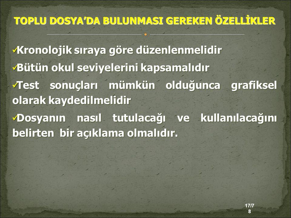 TOPLU DOSYA'DA BULUNMASI GEREKEN ÖZELLİKLER