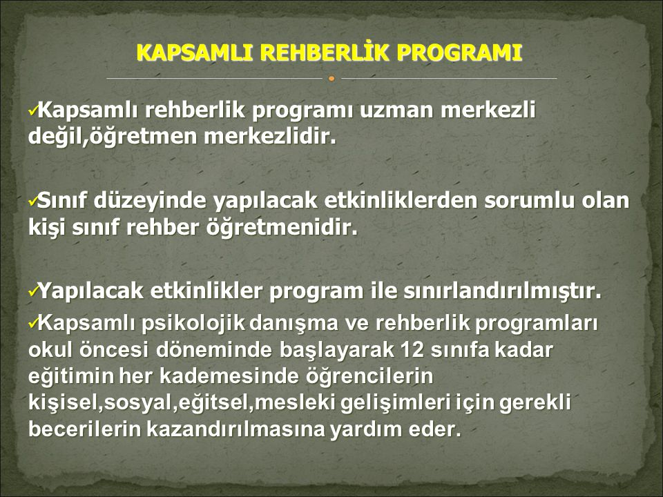 KAPSAMLI REHBERLİK PROGRAMI
