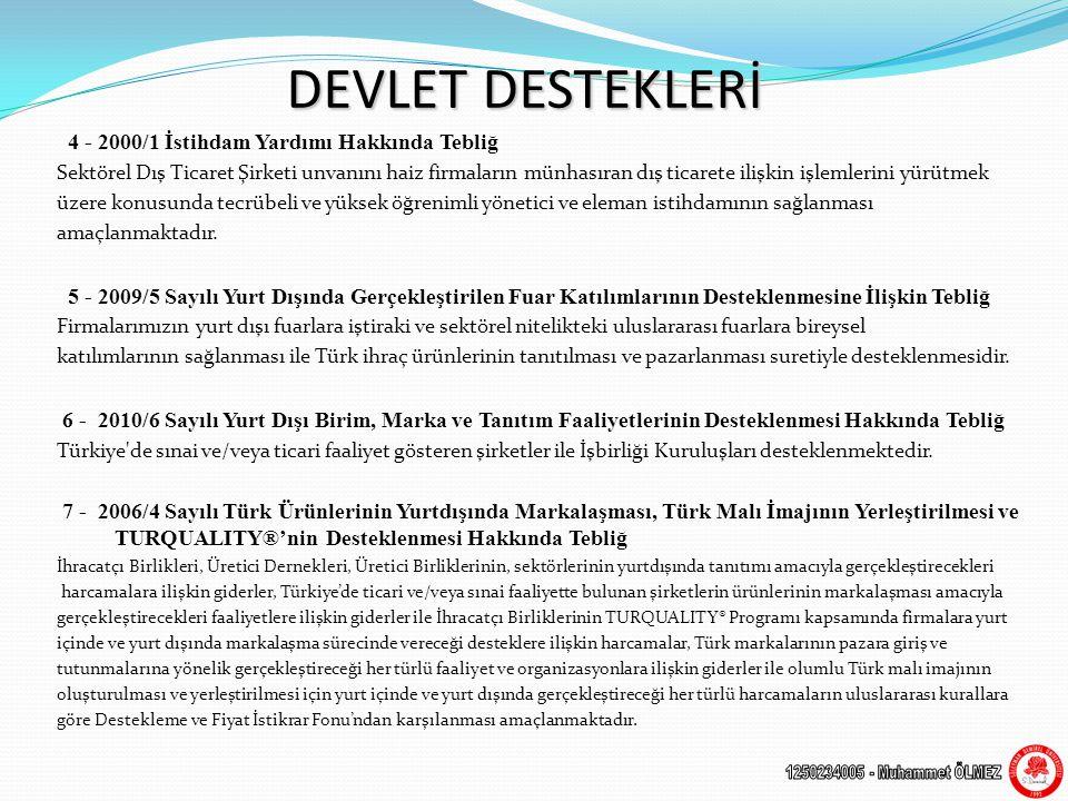 DEVLET DESTEKLERİ 4 - 2000/1 İstihdam Yardımı Hakkında Tebliğ