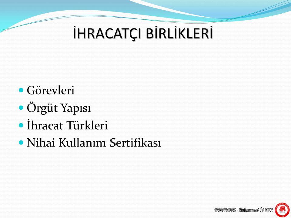 İHRACATÇI BİRLİKLERİ Görevleri Örgüt Yapısı İhracat Türkleri