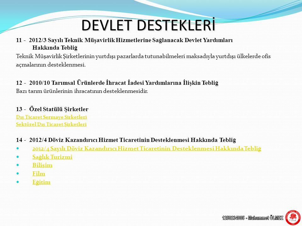 DEVLET DESTEKLERİ 11 - 2012/3 Sayılı Teknik Müşavirlik Hizmetlerine Sağlanacak Devlet Yardımları Hakkında Tebliğ.