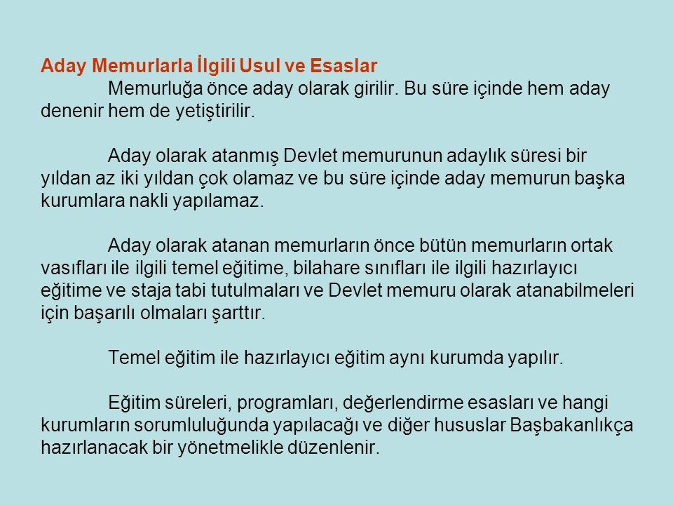 Aday Memurlarla İlgili Usul ve Esaslar
