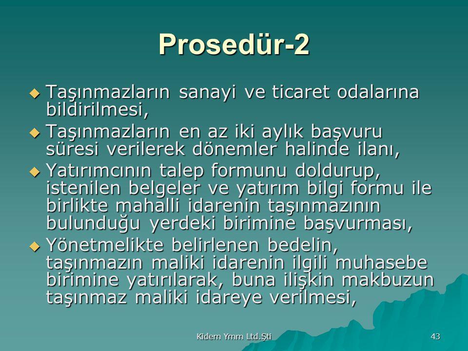 Prosedür-2 Taşınmazların sanayi ve ticaret odalarına bildirilmesi,