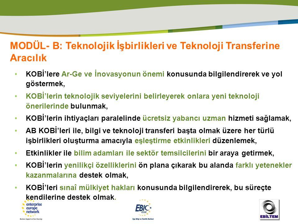 MODÜL- B: Teknolojik İşbirlikleri ve Teknoloji Transferine Aracılık