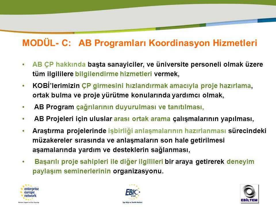 MODÜL- C: AB Programları Koordinasyon Hizmetleri