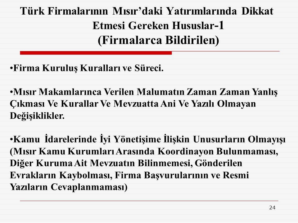 Türk Firmalarının Mısır'daki Yatırımlarında Dikkat Etmesi Gereken Hususlar-1 (Firmalarca Bildirilen)