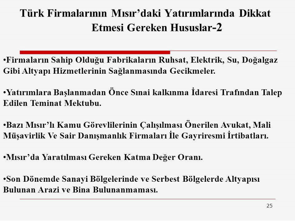 Türk Firmalarının Mısır'daki Yatırımlarında Dikkat Etmesi Gereken Hususlar-2