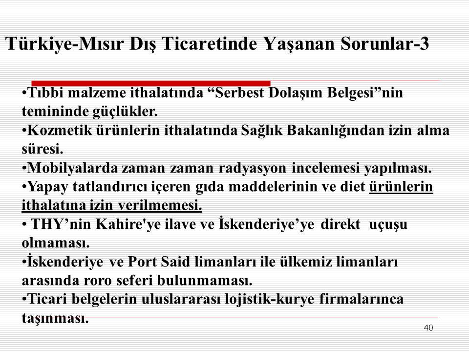 Türkiye-Mısır Dış Ticaretinde Yaşanan Sorunlar-3