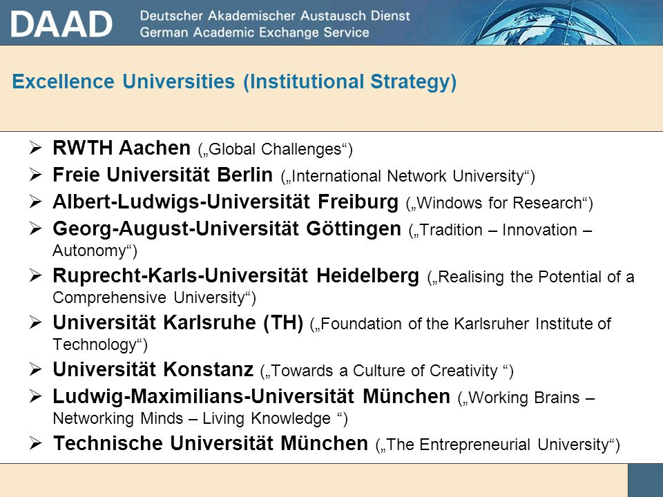 Excellence Universities (Institutional Strategy)