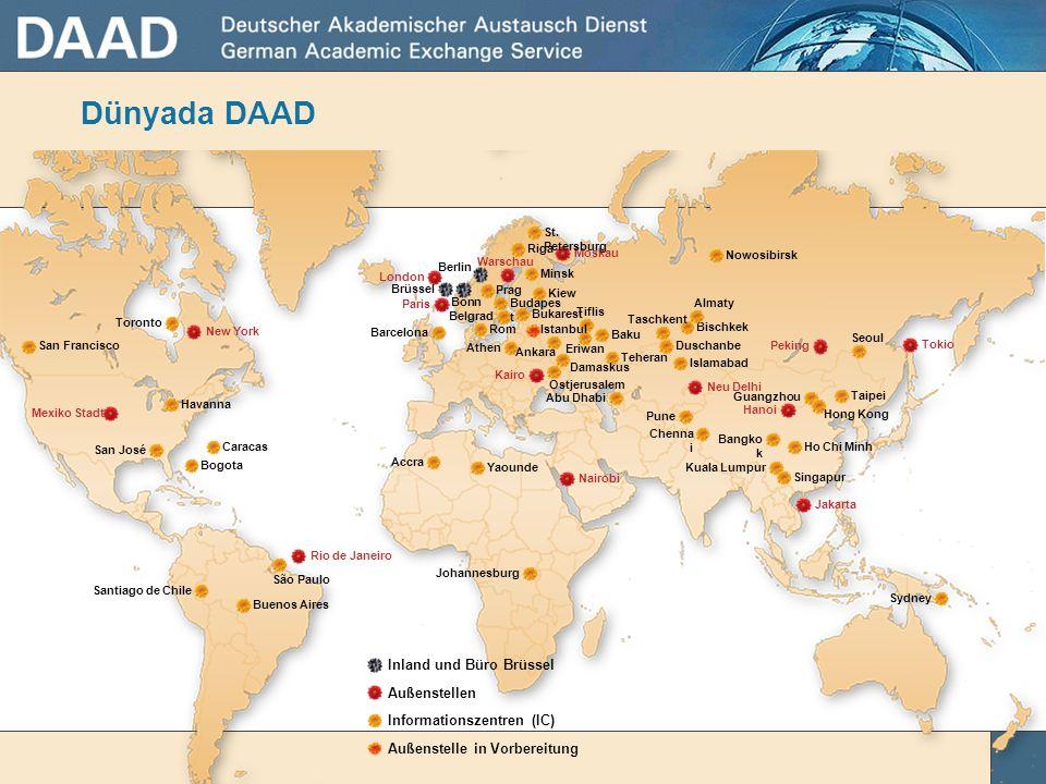 Dünyada DAAD 54 Inland und Büro Brüssel Außenstellen