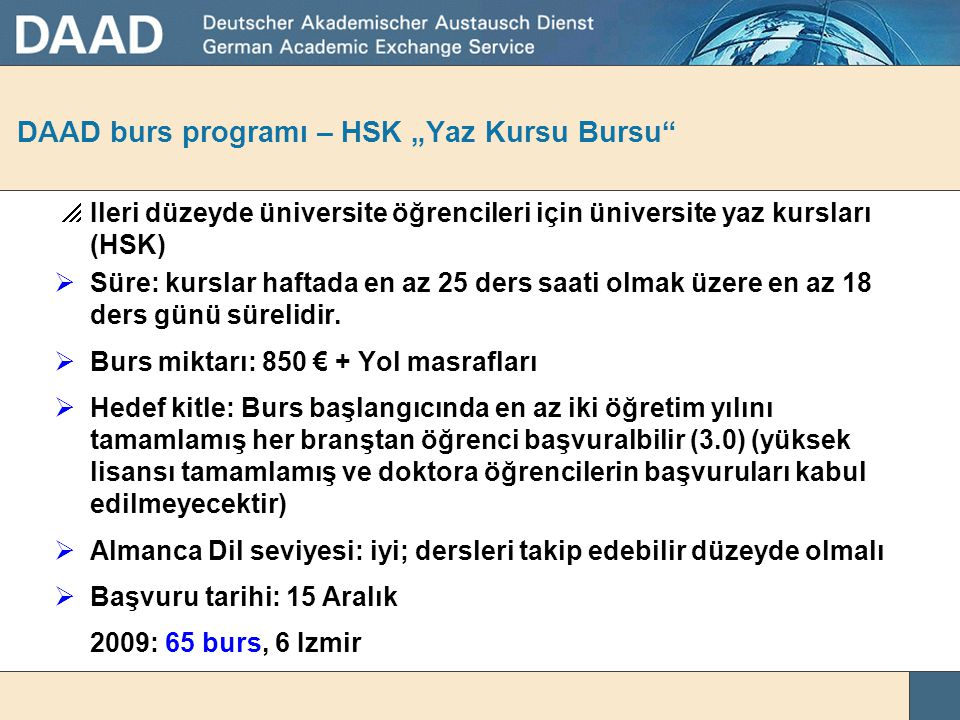 """DAAD burs programı – HSK """"Yaz Kursu Bursu"""
