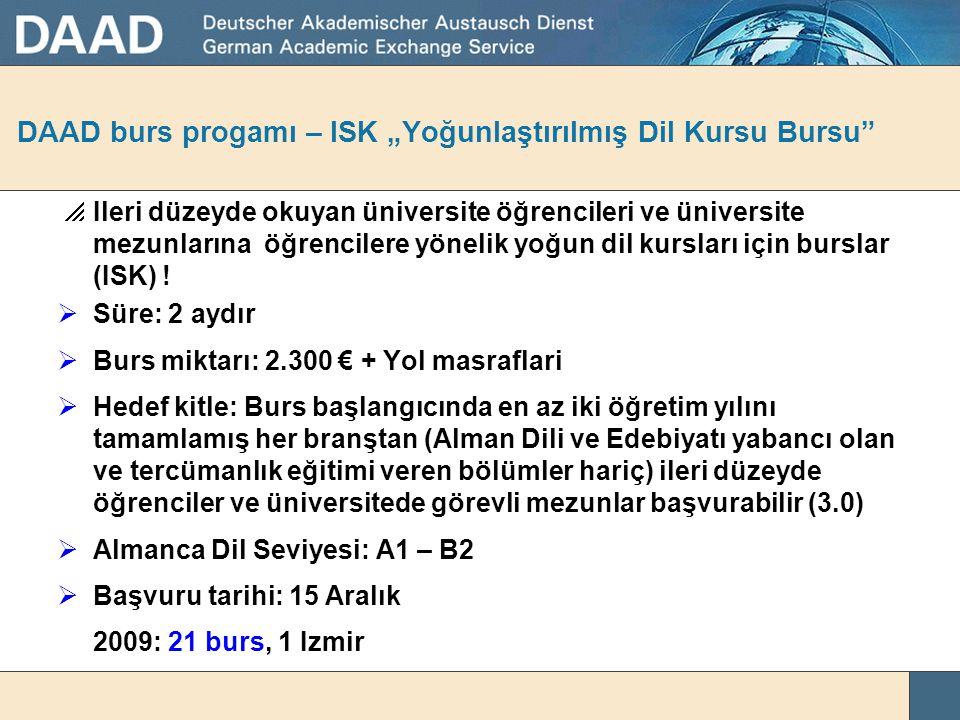 "DAAD burs progamı – ISK ""Yoğunlaştırılmış Dil Kursu Bursu"