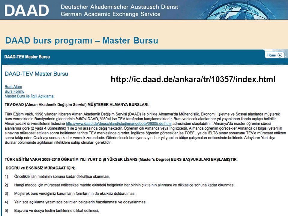 DAAD burs programı – Master Bursu
