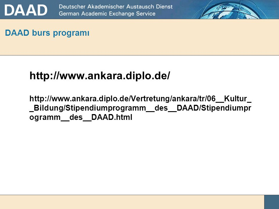 http://www.ankara.diplo.de/ DAAD burs programı